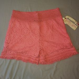 Imperial Star Sz Large Coral Crochet Lace Shorts